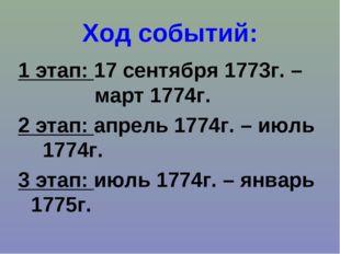 Ход событий: 1 этап: 17 сентября 1773г. – март 1774г. 2 этап: апрель 1774г. –