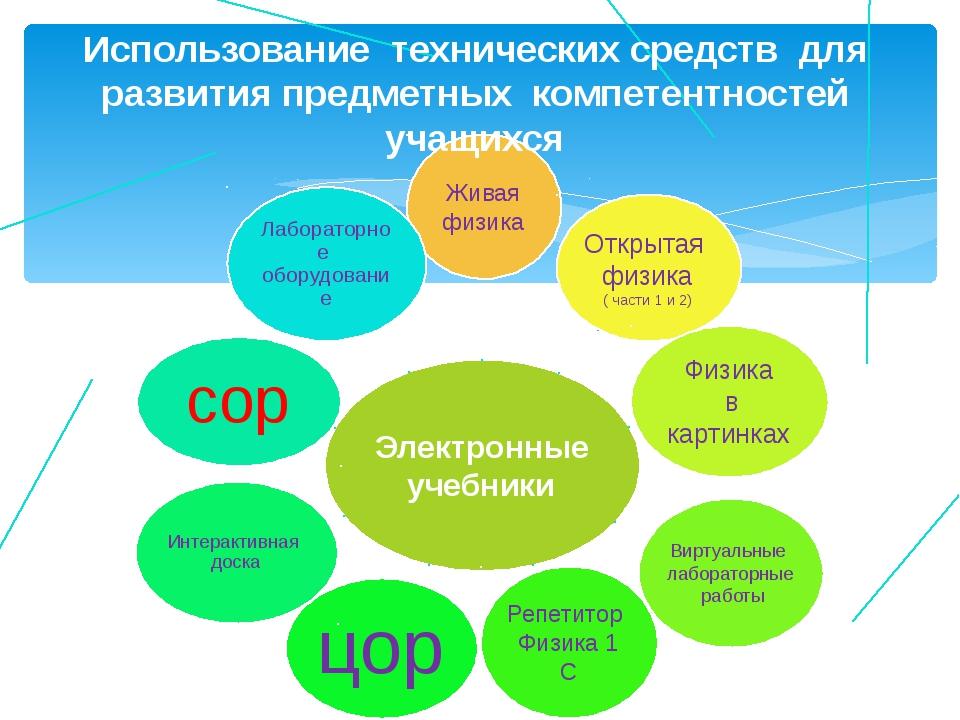 Использование технических средств для развития предметных компетентностей уча...