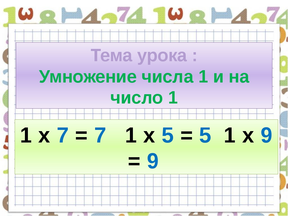 Тема урока : Умножение числа 1 и на число 1 1 х 7 = 7 1 х 5 = 5 1 х 9 = 9