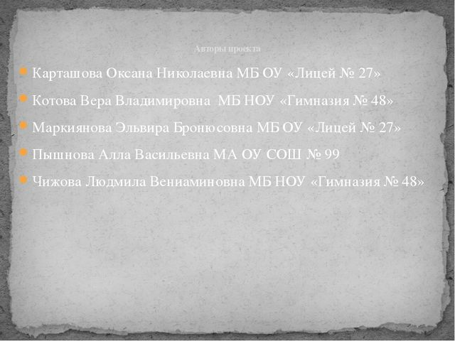 Карташова Оксана Николаевна МБ ОУ «Лицей № 27» Котова Вера Владимировна МБ НО...