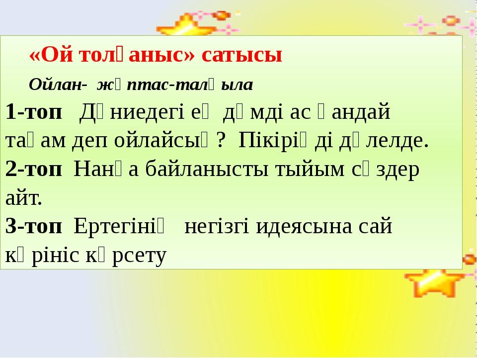 «Ой толғаныс» сатысы Ойлан- жұптас-талқыла 1-топ Дүниедегі ең дәмді ас қанда...