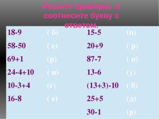 Решите примеры и соотнесите букву с ответом. 18-9 ( б) 15-5 (п) 58-50 ( е) 20