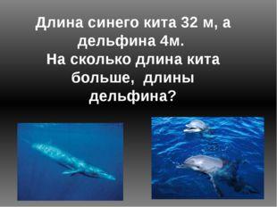 Длина синего кита 32 м, а дельфина 4м. На сколько длина кита больше, длины де