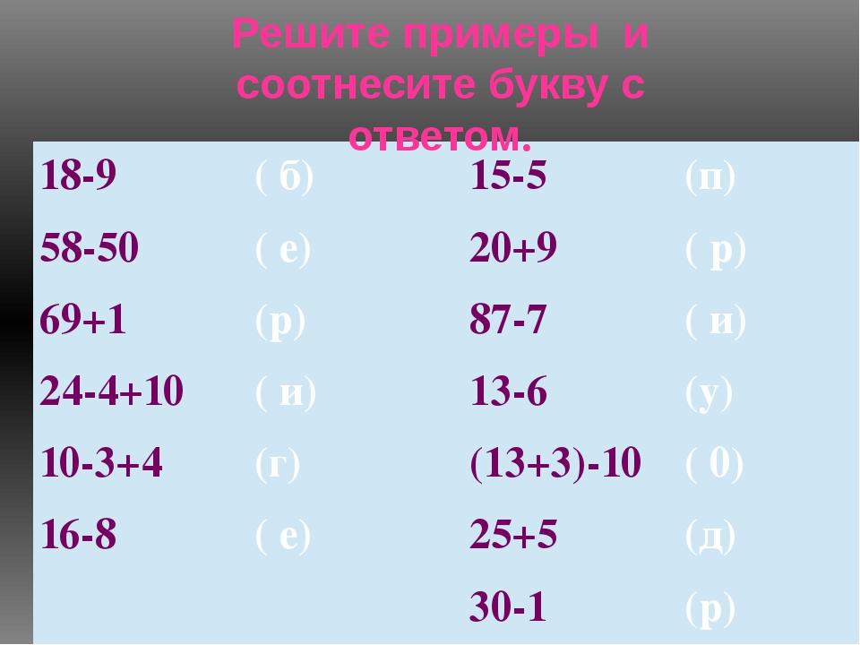 Решите примеры и соотнесите букву с ответом. 18-9 ( б) 15-5 (п) 58-50 ( е) 20...