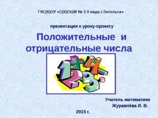 Учитель математики Журавлёва И. В. 2015 г. ГКС(К)ОУ «С(К)ОШИ № 3 II вида г.Э