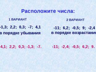 Расположите числа: -1,3; 2,2; 0,3; -7; 4,1 в порядке убывания 1 ВАРИАНТ -11;
