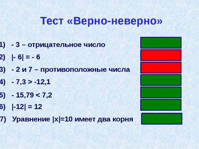Тест «Верно-неверно» 1) - 3 – отрицательное число 2) |- 6| = - 6 3) - 2 и 7 –...