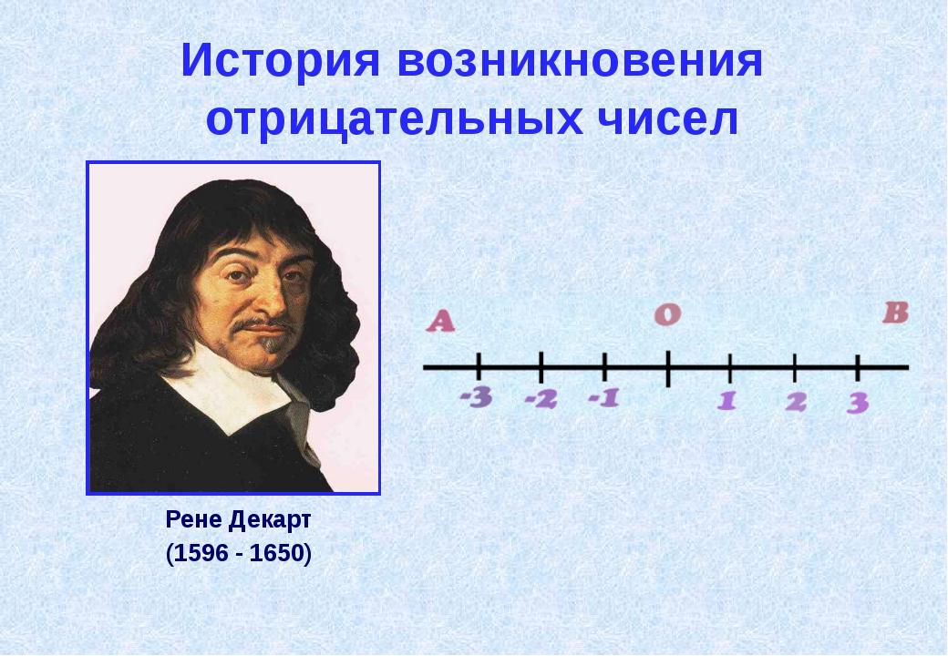 История возникновения отрицательных чисел В XVII в. францу́зский учёный Рене́...