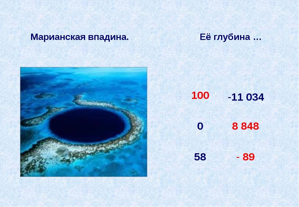 Марианская впадина. Её глубина … -11 034 100 0 8848 58 -89