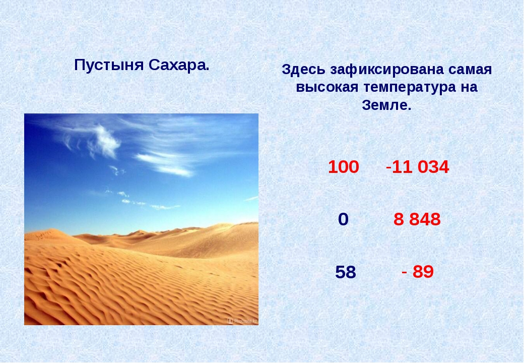 Пустыня Сахара. Здесь зафиксирована самая высокая температура на Земле. 58 10...