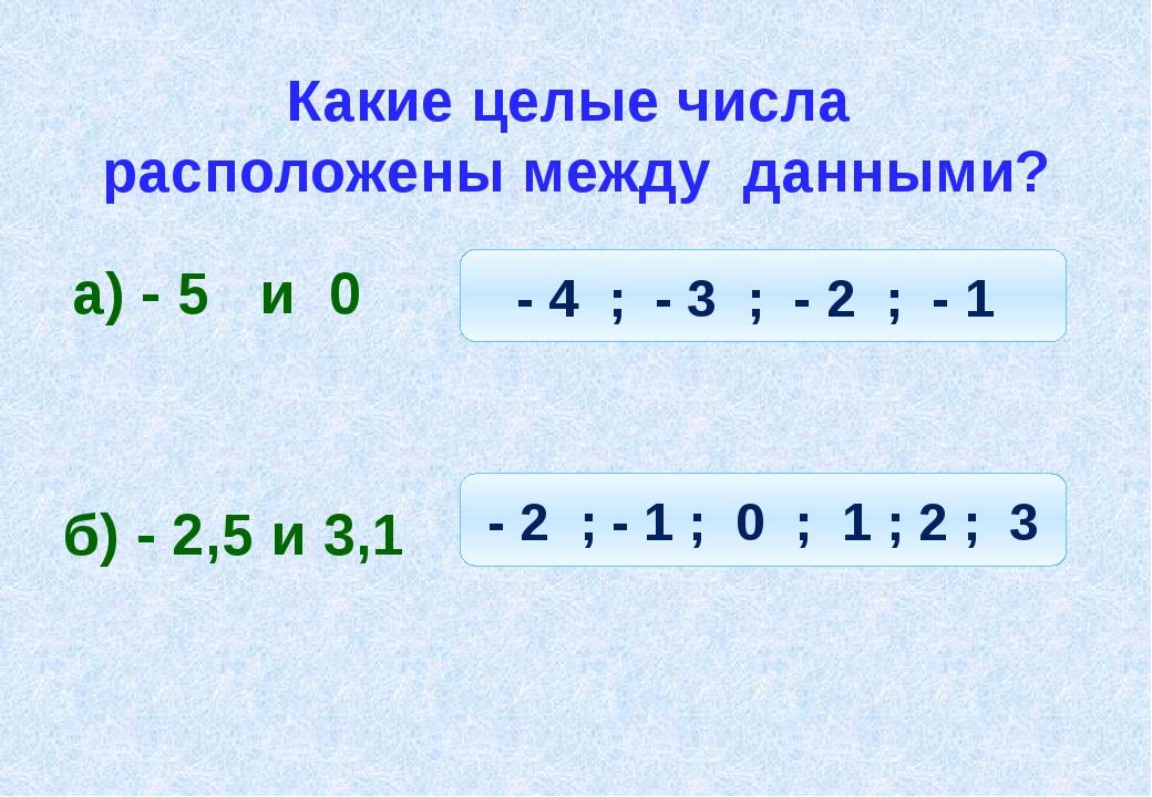 Какие целые числа расположены между данными? а) - 5 и 0 - 4 ; - 3 ; - 2 ; - 1...