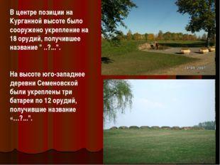 В центре позиции на Курганной высоте было сооружено укрепление на 18 орудий,