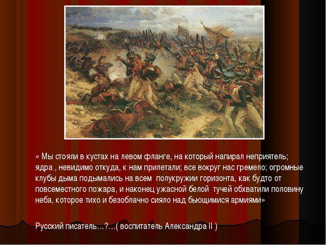 « Мы стояли в кустах на левом фланге, на который напирал неприятель; ядра ,...
