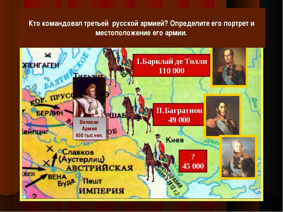 Великая Армия 600 тыс.чел. Кто командовал третьей русской армией? Определите...
