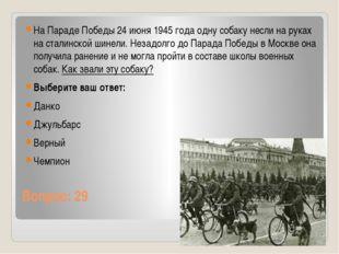 Вопрос: 29 На Параде Победы 24 июня 1945 года одну собаку несли на руках на с