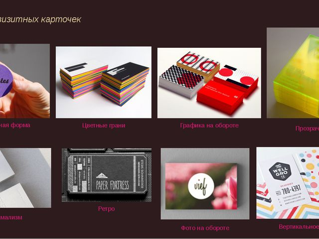 Анализ визитных карточек Минимализм Графика на обороте Фото на обороте Цветн...