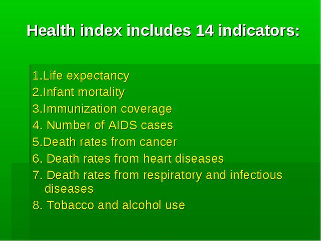 Health index includes 14 indicators: 1.Life expectancy 2.Infant mortality 3.I...
