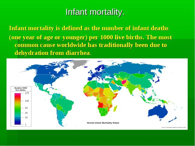Infant mortality. Infant mortality is defined as the number of infant deaths...
