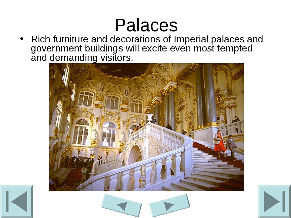 Palaces Rich furniture and decorations of Imperial palaces and government bui...