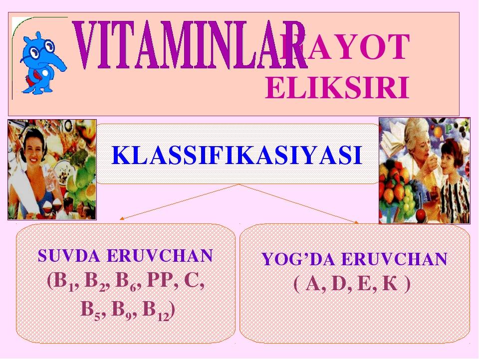 HAYOT ELIKSIRI KLASSIFIKASIYASI SUVDA ERUVCHAN (В1, В2, В6, РР, С, В5, В9, В...