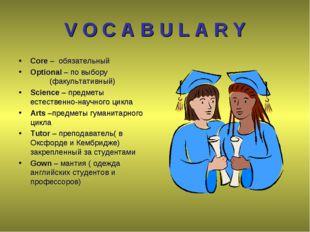 V O C A B U L A R Y Core – обязательный Optional – по выбору (факультативн