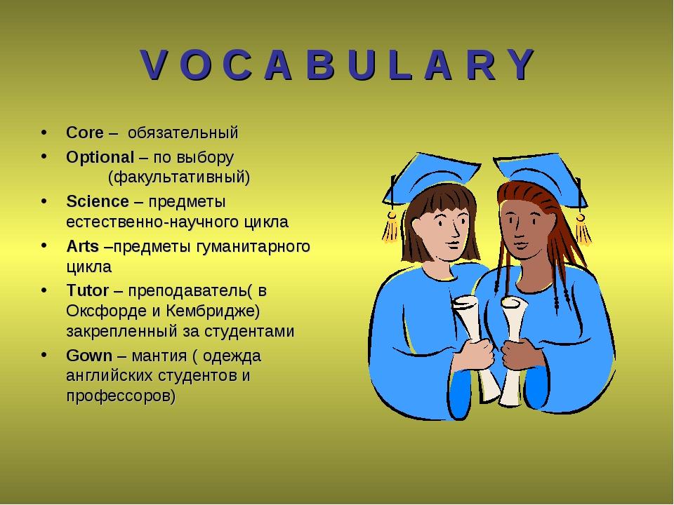 V O C A B U L A R Y Core – обязательный Optional – по выбору (факультативн...