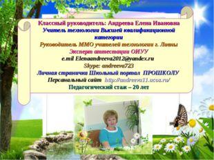 Классный руководитель: Андреева Елена Ивановна Учитель технологии Высшей ква