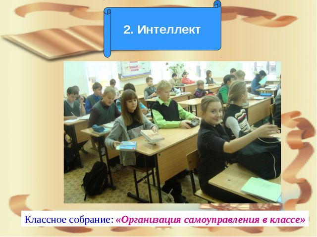2. Интеллект Классное собрание: «Организация самоуправления в классе»