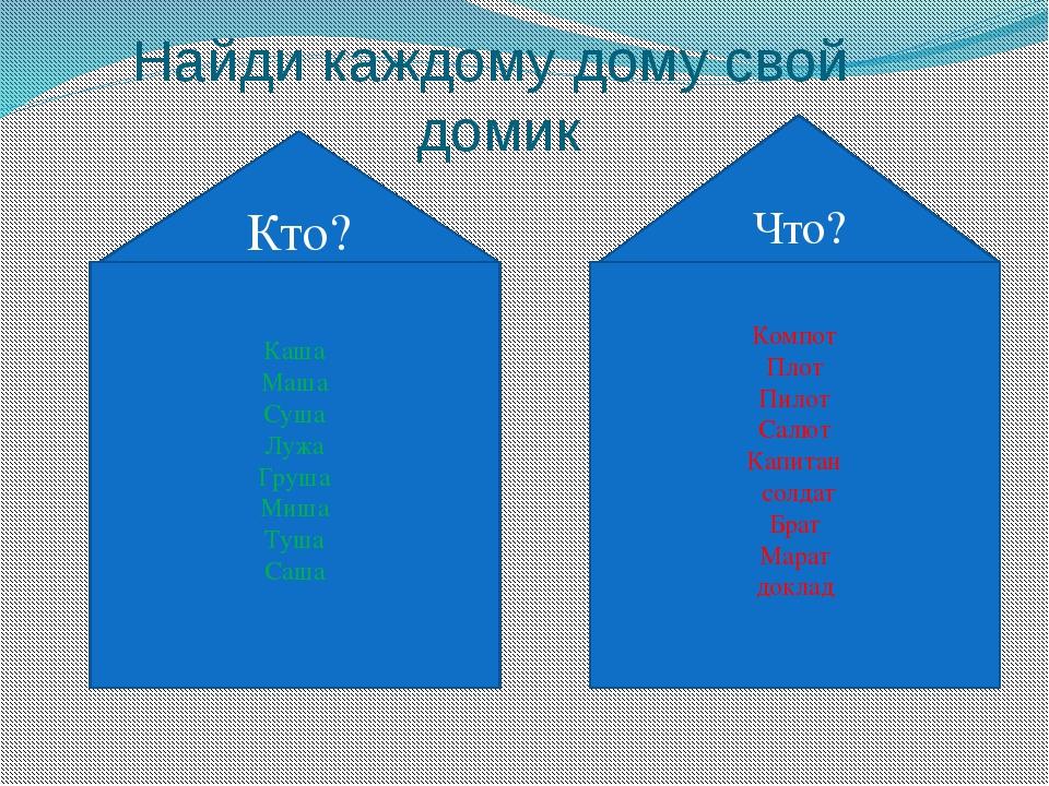 Найди каждому дому свой домик Каша Маша Суша Лужа Груша Миша Туша Саша Компот...