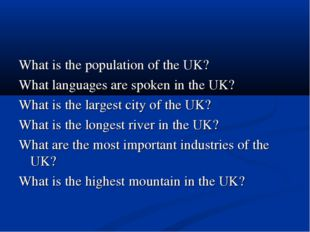 What is the population of the UK? What languages are spoken in the UK? What i