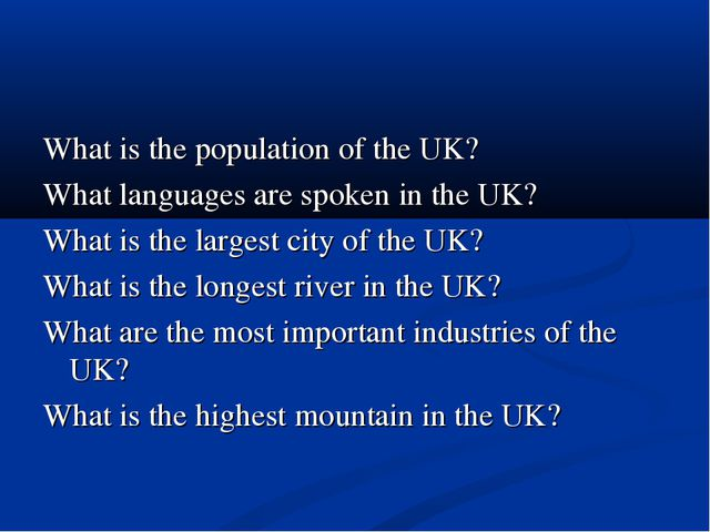 What is the population of the UK? What languages are spoken in the UK? What i...