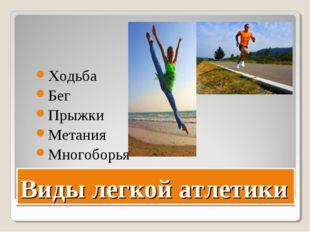 Виды легкой атлетики Ходьба Бег Прыжки Метания Многоборья