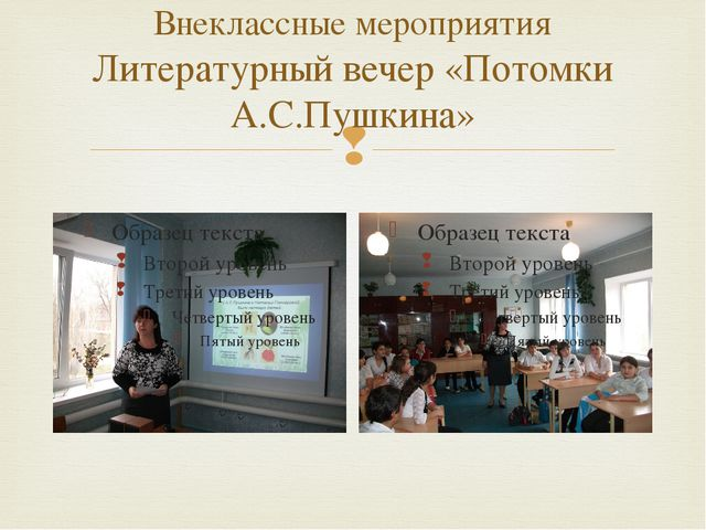 Внеклассные мероприятия Литературный вечер «Потомки А.С.Пушкина» 