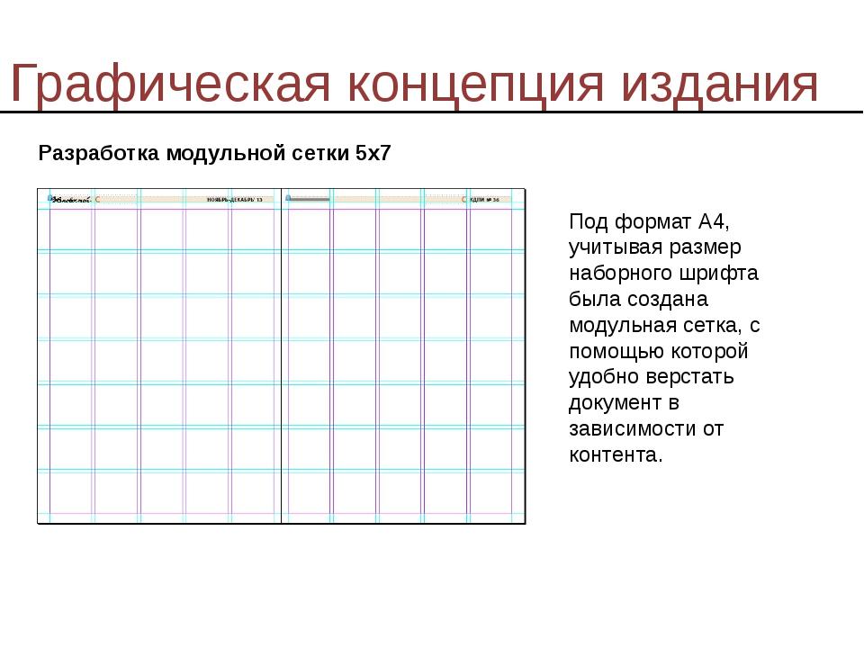Графическая концепция издания Разработка модульной сетки 5х7 Под формат А4, у...
