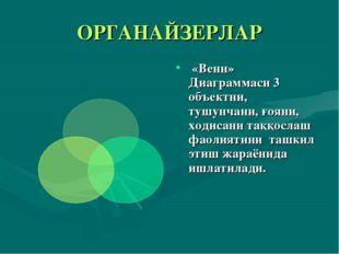 ОРГАНАЙЗЕРЛАР «Венн» Диаграммаси 3 объектни, тушунчани, ғояни, ходисани таққо