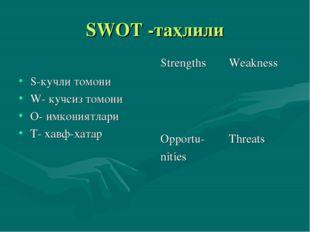 SWOT -таҳлили S-кучли томони W- кучсиз томони О- имкониятлари Т- хавф-хатар S