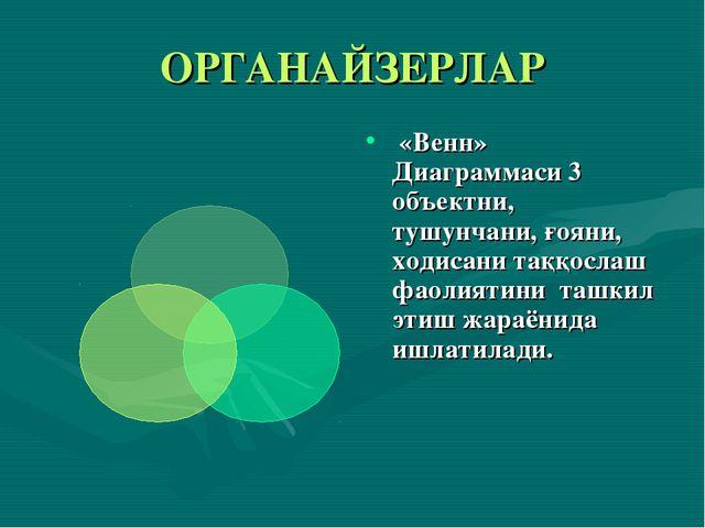 ОРГАНАЙЗЕРЛАР «Венн» Диаграммаси 3 объектни, тушунчани, ғояни, ходисани таққо...