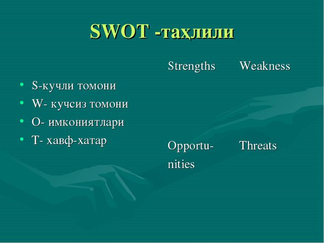 SWOT -таҳлили S-кучли томони W- кучсиз томони О- имкониятлари Т- хавф-хатар S...