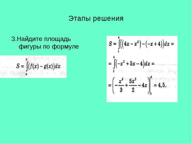 Этапы решения 3.Найдите площадь фигуры по формуле