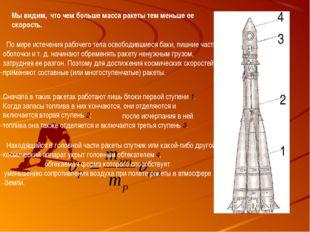 Мы видим, что чем больше масса ракеты тем меньше ее скорость. По мере истечен