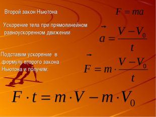 Второй закон Ньютона Ускорение тела при прямолинейном равноускоренном движени