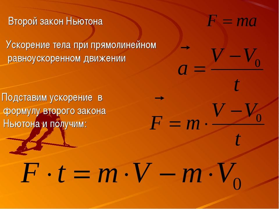 Второй закон Ньютона Ускорение тела при прямолинейном равноускоренном движени...