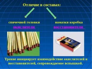 Отличие в составах: спичечной головки намазки коробка окислители восстановит