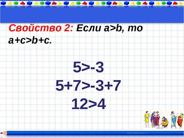 Свойство 2: Если a>b, то a+c>b+c. 5>-3 5+7>-3+7 12>4