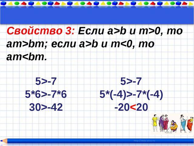 Свойство 3: Если a>b и m>0, то am>bm; если a>b и m-7*6 30>-42 5>-7 5*(-4)>-7*...