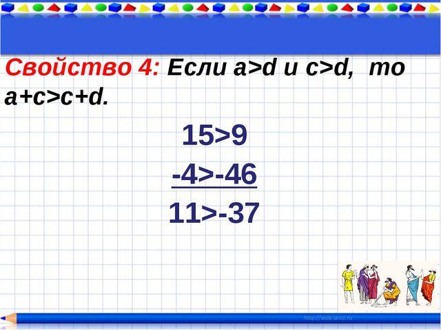 Свойство 4: Если a>d и c>d, то a+c>c+d. 15>9 -4>-46 11>-37