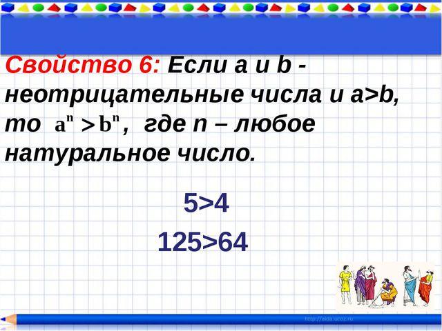Свойство 6: Если a и b - неотрицательные числа и a>b, то , где n – любое нату...