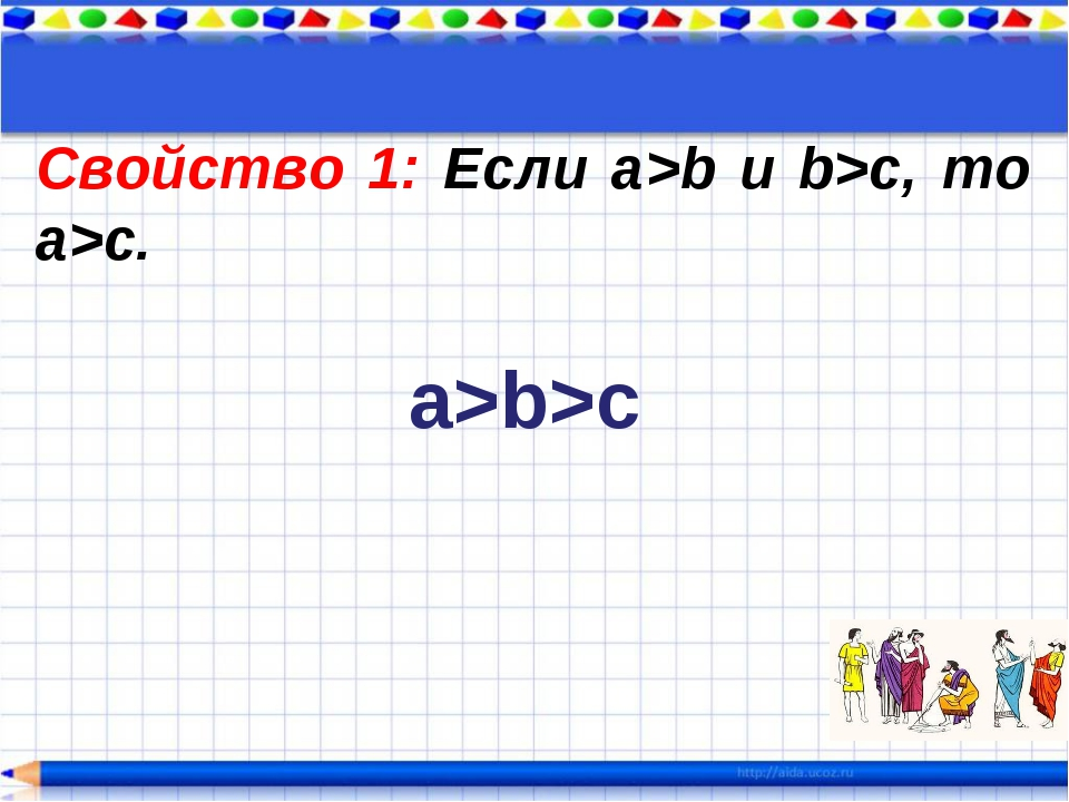 Свойство 1: Если а>b и b>c, то a>c. a>b>c