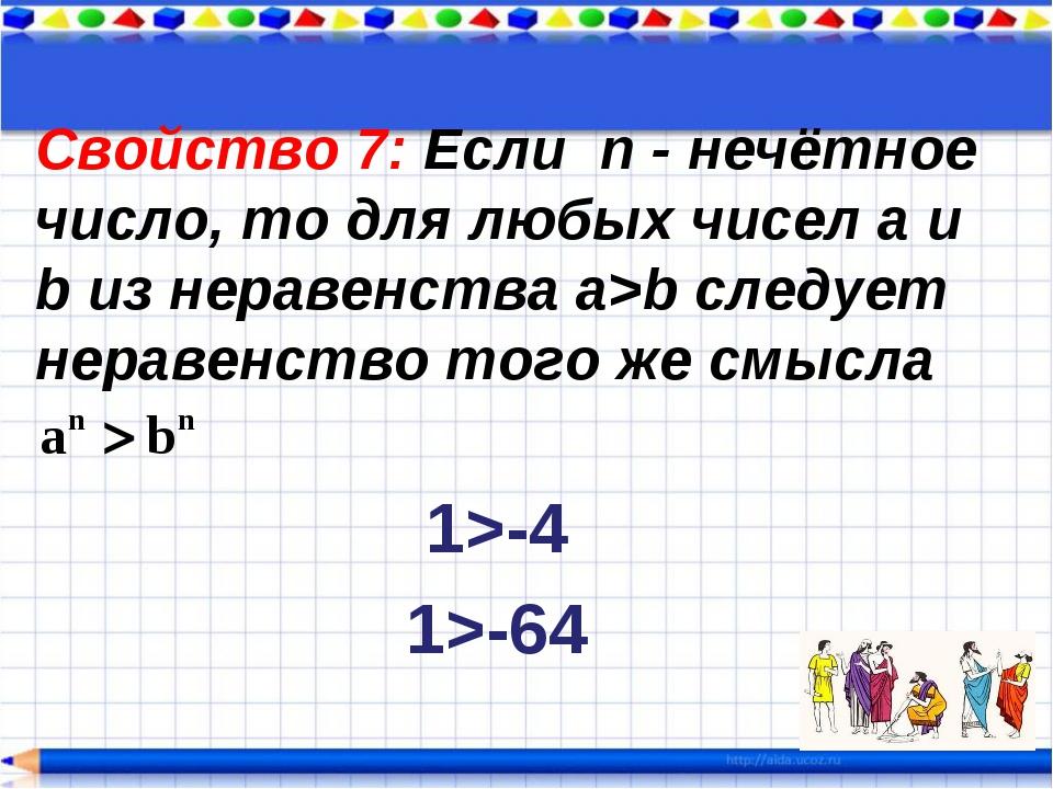 Свойство 7: Если n - нечётное число, то для любых чисел a и b из неравенства...