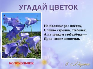 На полянке рос цветок, Словно стрелка, стебелёк, А на тонком стебелёчке — Ярк